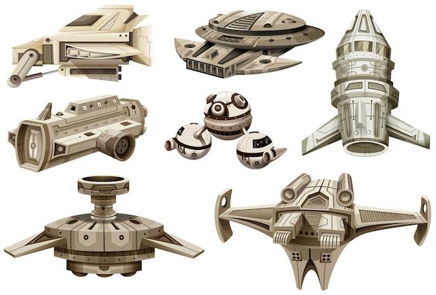Verschiedene entwürfe von raumschiffen