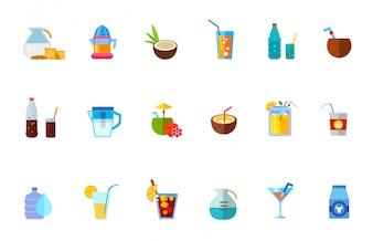 Verschiedene erfrischende Getränke Icon-Set