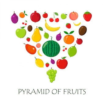 Verschiedene exotische und einfache früchte auf weißem hintergrund