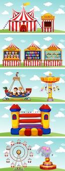 Verschiedene fahrgeschäfte im zirkus