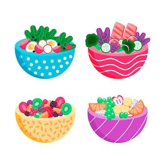 Verschiedene farben von schalen mit gesundem essen gefüllt