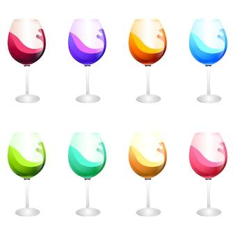 Verschiedene farben weingläser. illustration
