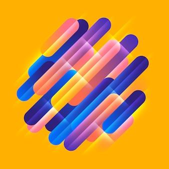 Verschiedene farbige abgerundete formen linien im diagonalen rhythmus. illustration der dynamischen komposition. geometrisches element der bewegungsgrafik.