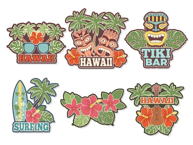Verschiedene farbige aufkleber und abzeichen stellten mit symbolen der hawaiischen kultur ein