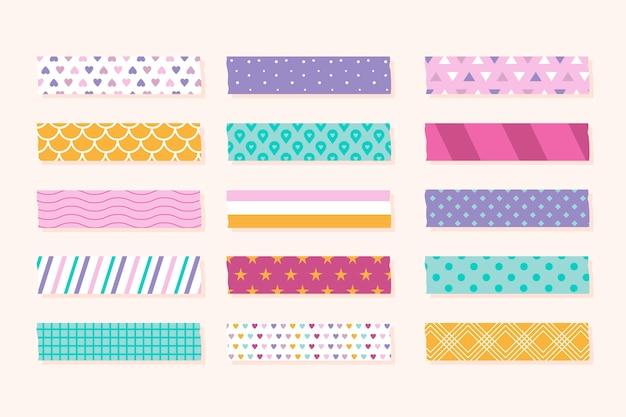 Verschiedene farbige flache washi-bänder