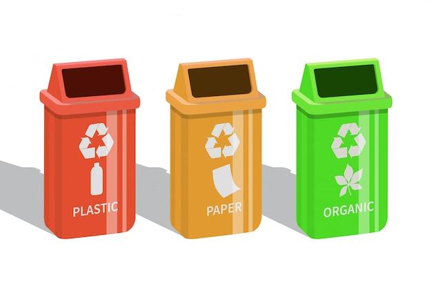 Verschiedene farbige mülleimer mit papier, kunststoff und organischen abfällen, die zum recycling geeignet sind. weißer hintergrund. illustration.