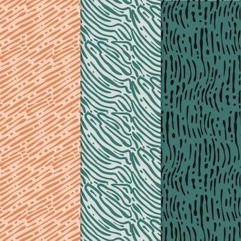 Verschiedene farbige musterkollektionen mit abgerundeten linien