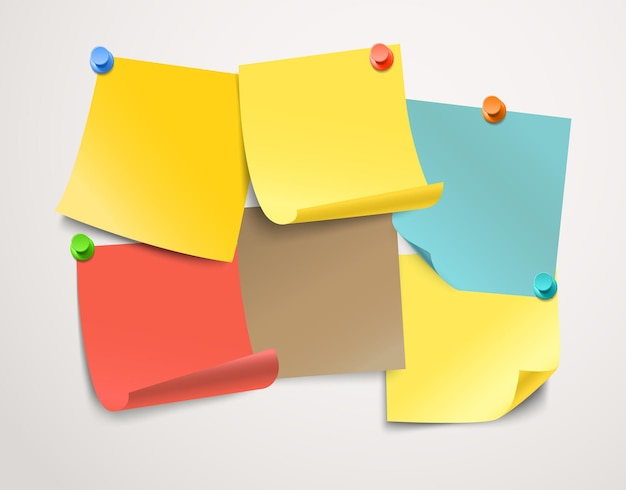Verschiedene farbige papieraufkleber-sammlung. vorlage für einen text