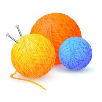 Verschiedene farbknäuel aus garnfäden wollbündel zum stricken detaillierte farbige garnknäuel