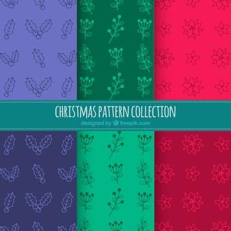 Verschiedene farbmuster von weihnachten mit zeichnungen
