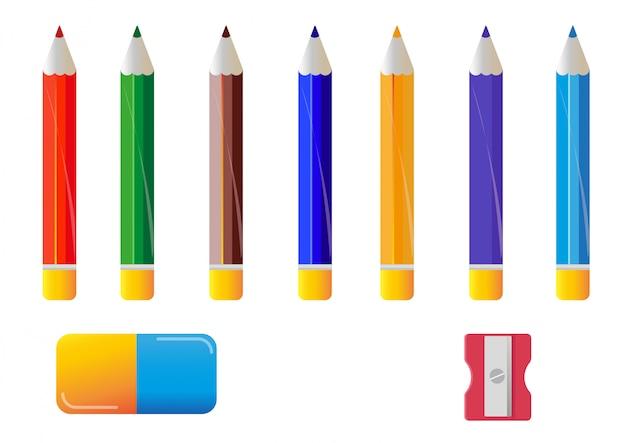 Verschiedene farbstifte radiergummi