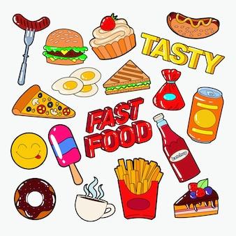 Verschiedene fast-food-gekritzel isoliert auf weiß