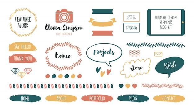 Verschiedene feminine süße rahmen und bänder für blog-set