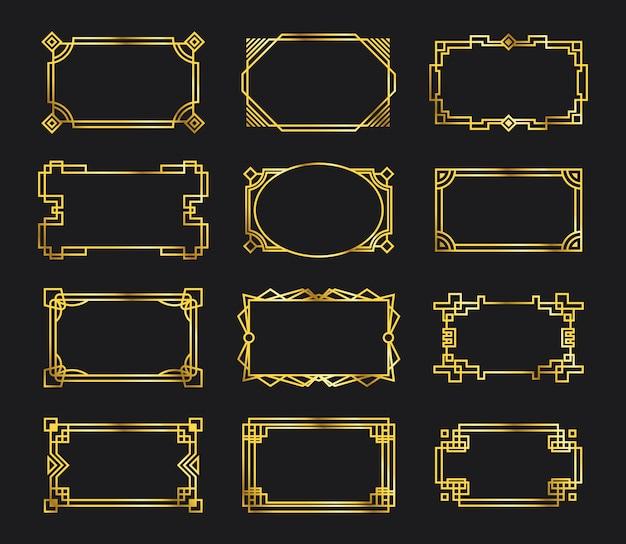 Verschiedene filigrane rahmen aus antikem gold