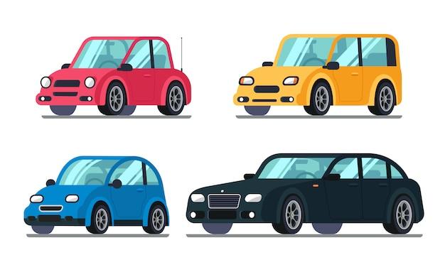 Verschiedene flache autos