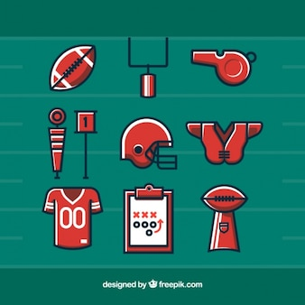 Verschiedene flache fußball-elemente