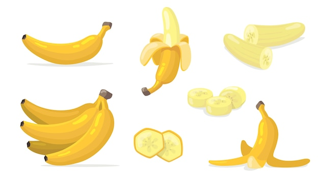 Verschiedene flache ikonensätze der bananenfrüchte. karikatur exotischer natürlicher nachtisch isolierte vektorillustrationssammlung.