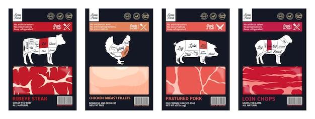 Verschiedene fleischverpackungsdesign im modernen stil