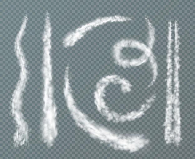 Verschiedene formen kondensstreifen realistisch mit spiralförmigen doppellinie gesetzt