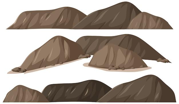 Verschiedene formen von felsen auf weißem hintergrund