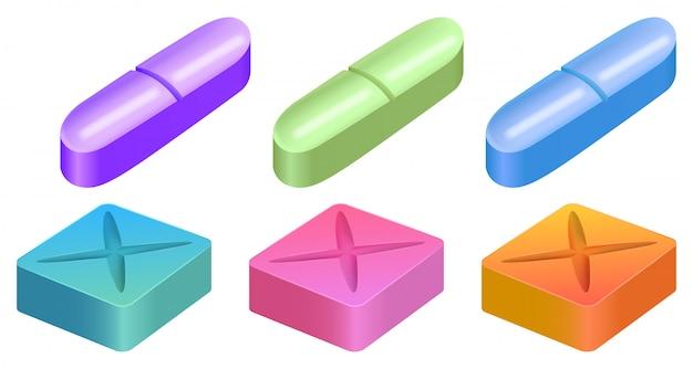 Verschiedene formen von medizinischen pillen