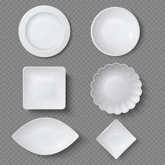 Verschiedene formen von realistischen lebensmittelplatten, tellern und schüsseln vector satz. plattenteller für restaurant, leere gerät- und dishwareillustration