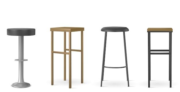 Verschiedene formen von stühlen realistische illustrationsset