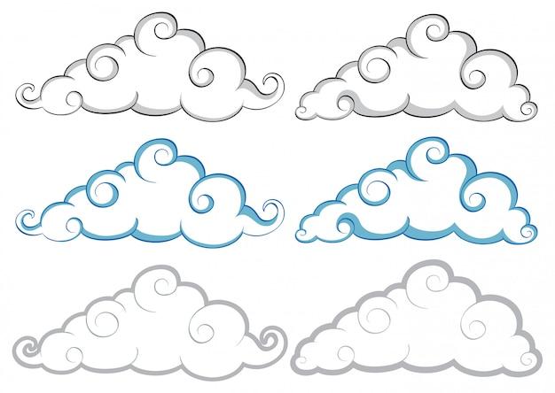 Verschiedene formen von wolken auf weißem hintergrund