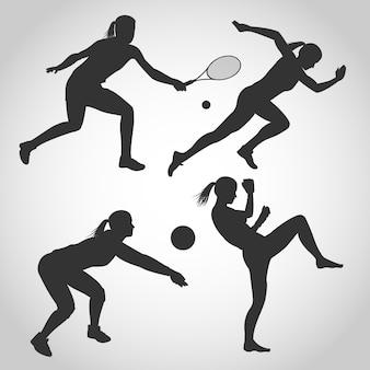 Verschiedene frauen sport silhouette