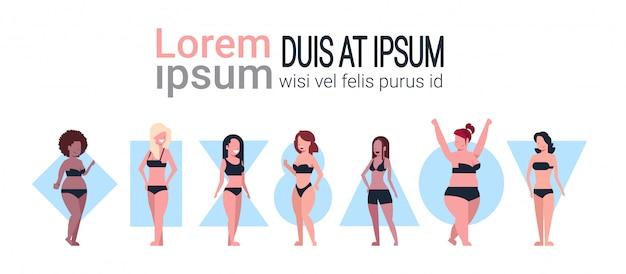 Verschiedene frauen tragen bikinis banner vorlage