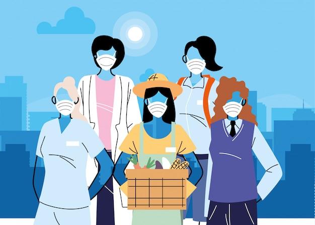 Verschiedene frontarbeiter mit schutzmasken
