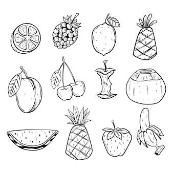 Verschiedene früchte in der skizzen- oder gekritzelart