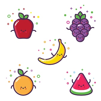 Verschiedene früchte wie apfel-bananen-orangen-trauben und wassermelone in niedlichen vektorgrafiken