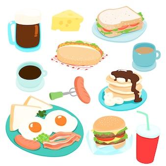 Verschiedene frühstück set vektor-illustration. frisch und lecker.