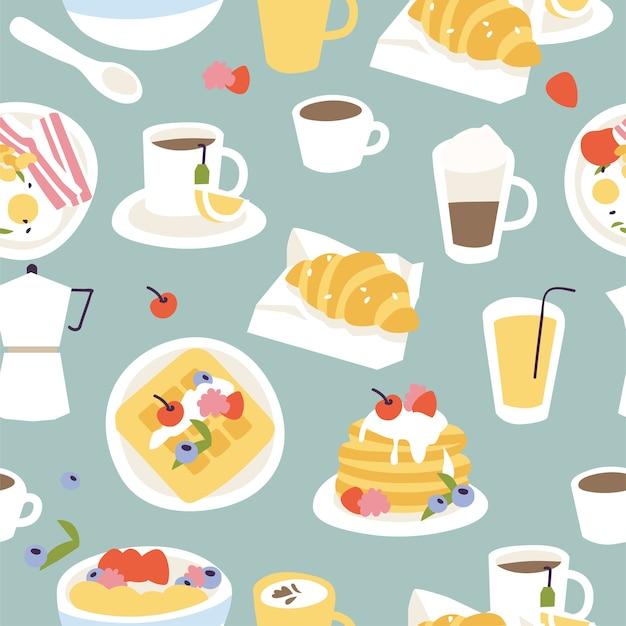 Verschiedene frühstücke nahtloses muster.
