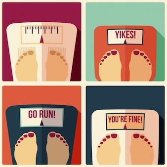 Verschiedene füße in den gewichten