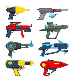 Verschiedene futuristische waffen. schusswaffen für videospiele