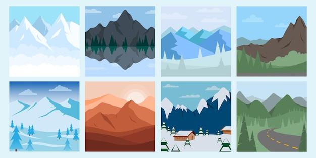 Verschiedene gebirgslandschaftssatzillustration. berg und wald mit hügel und baumillustration.