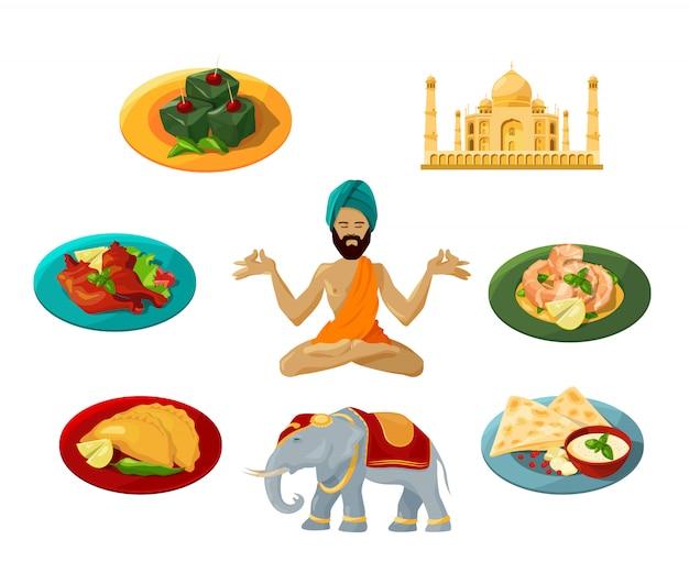 Verschiedene gegenstände der traditionellen indischen kultur.
