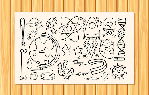 Verschiedene gekritzelstriche über wissenschaftliche ausrüstung auf papier