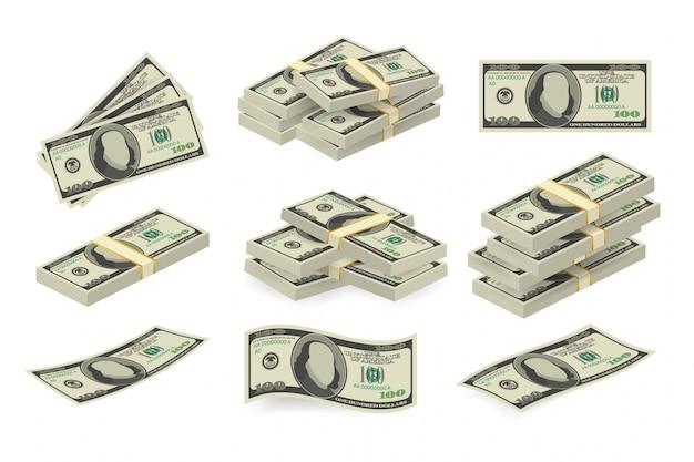 Verschiedene geldscheine dollar bargeld papier banknoten gesetzt. geld bargeld haufen. illustration.