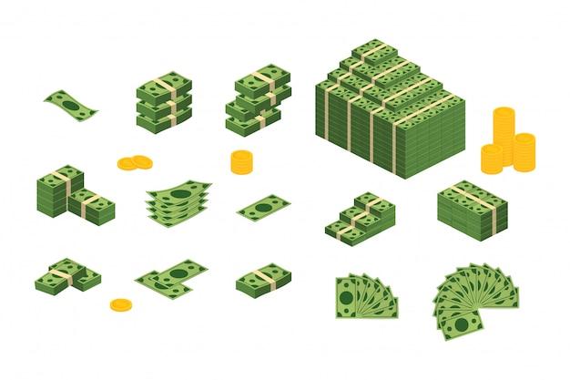 Verschiedene geldscheine dollar bargeld papier banknoten gesetzt