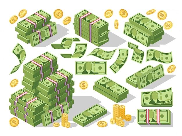 Verschiedene geldscheine dollar-bargeldpapierbanknoten und goldmünzvektorsatz