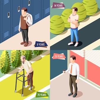 Verschiedene generationen 2x2 designkonzept illustriert männliche figur während verschiedener lebensphasen isometrische illustration