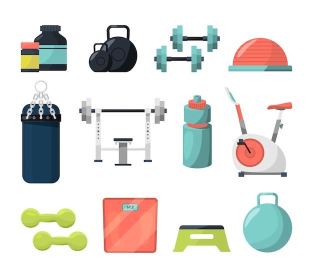 Verschiedene geräte für das fitnessstudio.