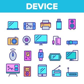 Verschiedene geräte zeichen icons set