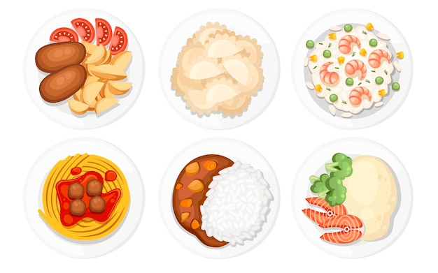 Verschiedene gerichte auf den tellern. traditionelles essen aus aller welt. symbole für menülogos und beschriftungen. flache illustration lokalisiert auf weißem hintergrund.