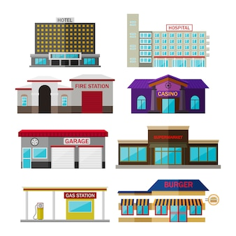 Verschiedene geschäfte, gebäude und geschäfte flache ikonensatz lokalisiert auf weiß. beinhaltet hotel, krankenhaus, feuerwache, casino, garage, supermarkt, tankstelle, burger