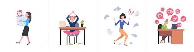 Verschiedene geschäftskonzepte festlegen weibliche geschäftsleute fleißiges prozesskonzept verschiedene arbeitssituationen horizontal in voller länge