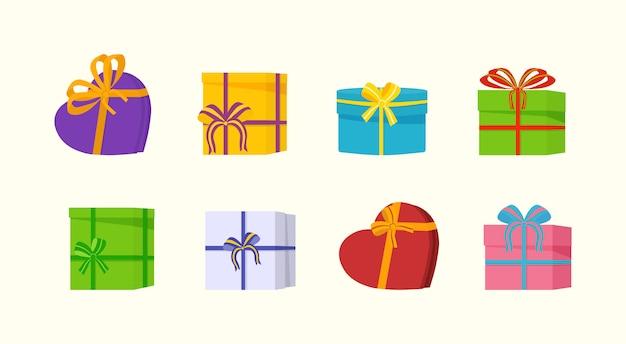 Verschiedene geschenkboxen mit farbigen schleifen im urlaub, überraschungsgeburtstag. ein großer haufen schöner geschenkboxen auf weißem hintergrund. illustration.